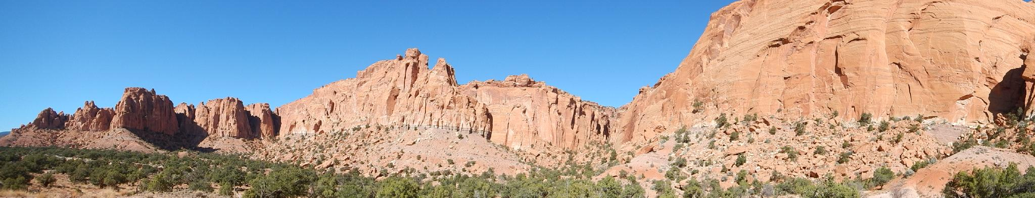 Panorama from the base of the final route up to the mesa top.
