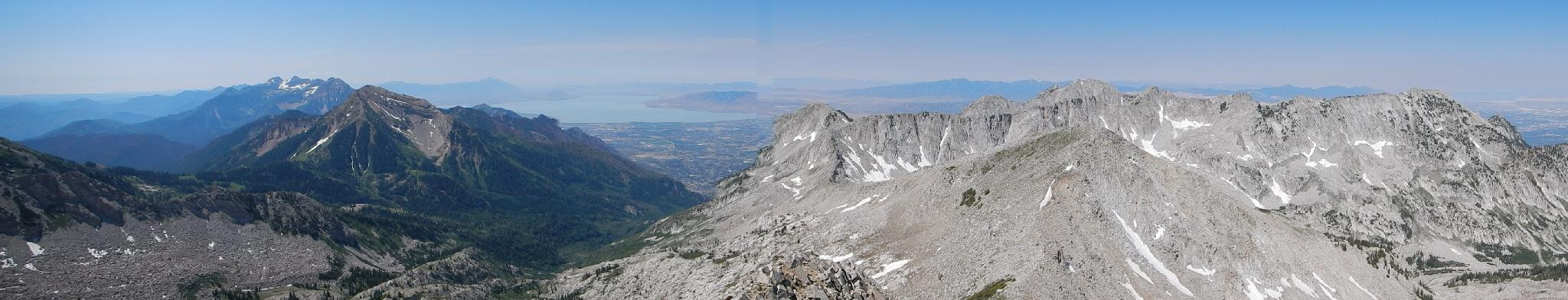 South and West Panorama. Timp in the far background, Box Elder, and Lone Peak.