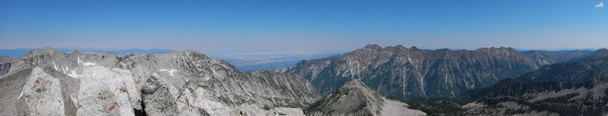 West andnorth panorama - Lone Peak, SLC, Twin Peaks, and Dromedary.