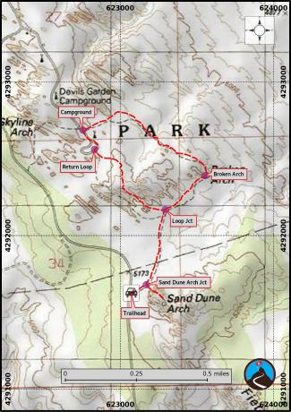 Sand Dune and Broken Arch Hiking Map
