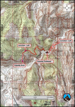 Cassidy Arch Hiking Map
