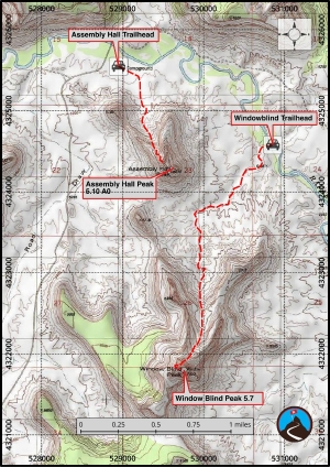 Window Blind Peak - North Rib Climbing Map