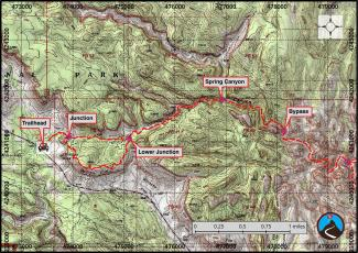 Lower Spring Canyon Hiking Map 1/2