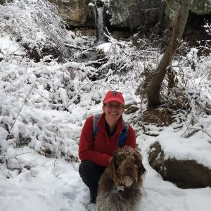 Diane and Abby on a snowy November day at the falls.