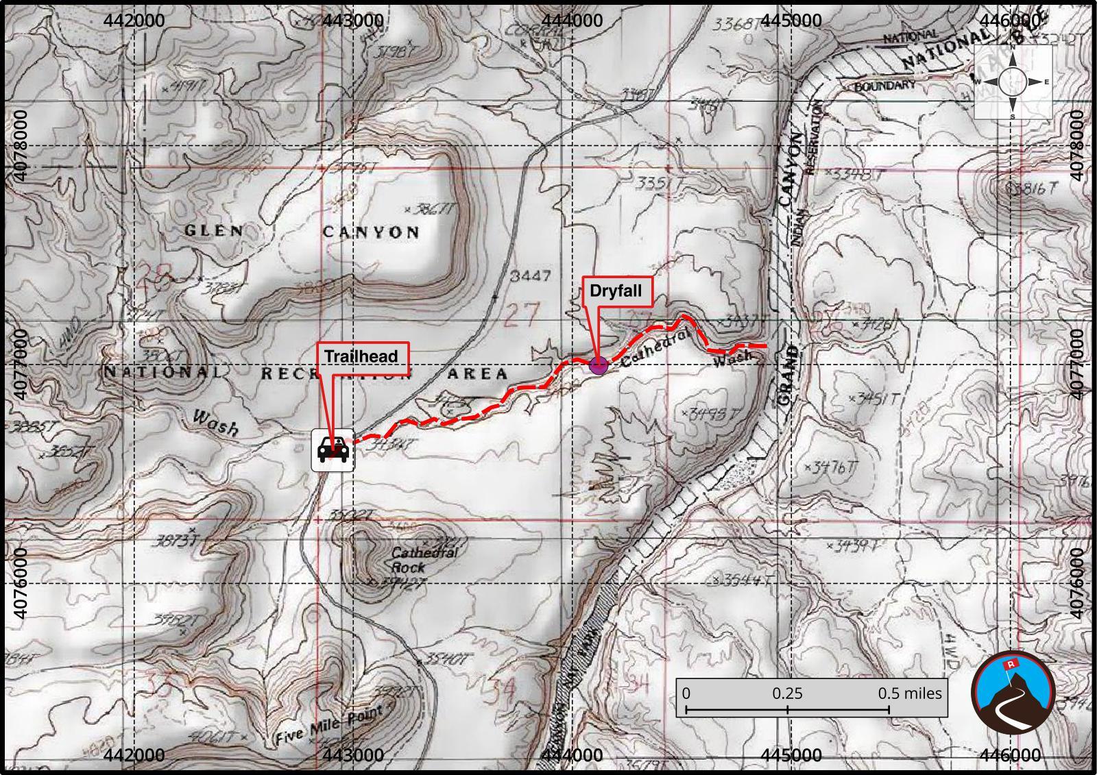 Hiking Cathedral Wash Marble Canyon Road Trip Ryan - Wash map