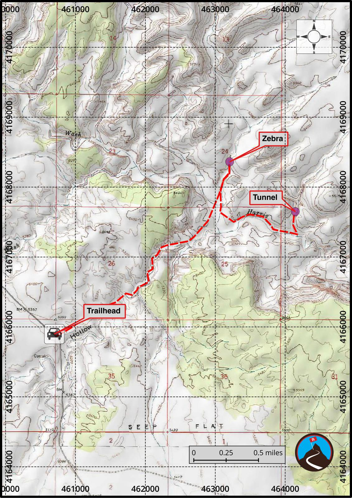 Zebra And Tunnel Slot Hiking Map