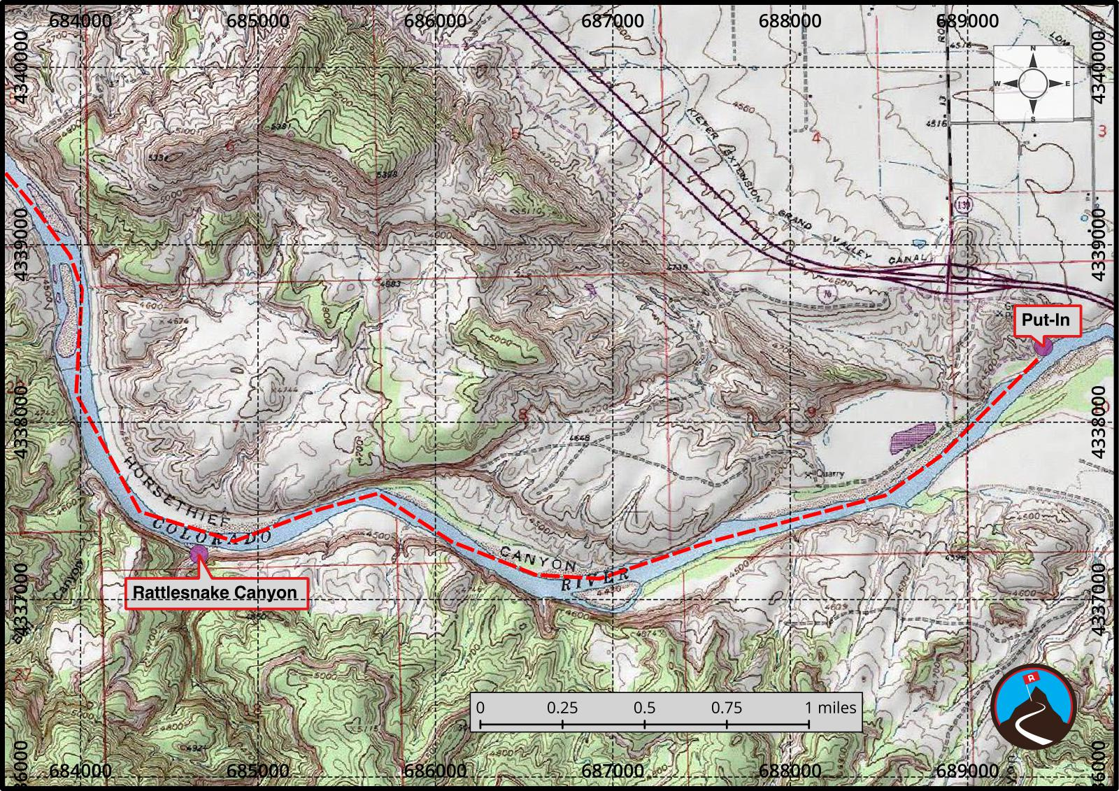 Ruby and Horsethief Canyons Float Map 1