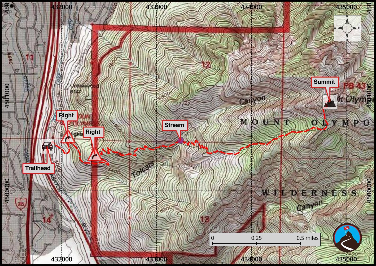 Hiking Mount Olympus Salt Lake CIty Road Trip Ryan - Olympus map